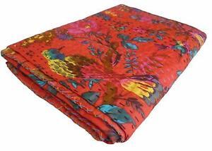 Kantha Quilt Indian Cotton Bedspreads Handmade Vintage Blanket Red Bird Print