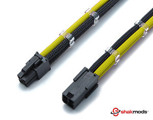 4 Pin 30cm Black & Yellow CPU Mobo Sleeved Extension Shakmods + 2 Cable Combs