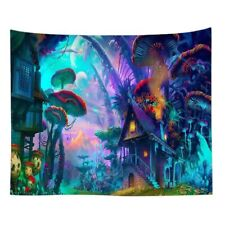 Psychedelic Trippy Hippie Mushroom Forest Tapestry.