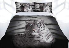 Quilt Cover Set Queen Bed Tiger Blue Eyes Stripe Doona Bedding New!
