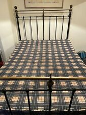More details for antique vintage cast iron and brass double bed frame and spring base