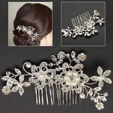 NEUF Nuptial mariage cristal perle fleur peigne à cheveux barrette