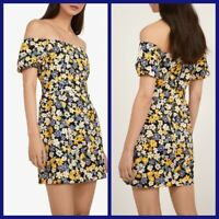 NEW Ex Warehouse Floral Print Dress BLACK Summer Holiday Dress Size 6 - 18