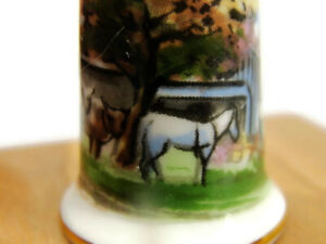 Vintage Thimble Porcelain Farmer Oxen Horse Barn Farmhouse