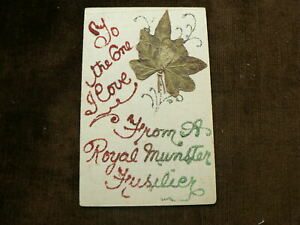 WW1 Hand Made Glitter Postcard, From A Royal Munster Fusilier To the One I Love