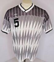 VTG 80s Umbro #5 Black White Diamond Soccer Jersey Shirt Sz L Collared USA MADE