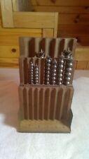 Vintage Wooden 13 Piece Drill Bit Box