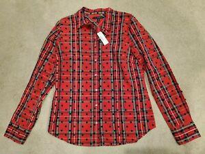 J Crew NWT Red Stewart Tartan Plaid Velvet Dot Print Shirt Top 10 M L