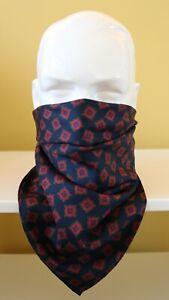 "100% Silk Neckerchief, cravat, face covering Blue & burgundy 25"" square"