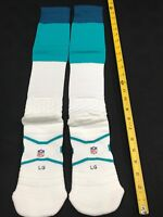 MIAMI DOLPHINS TEAM ISSUED NIKE WHITE/AQUA/NAVY FOOTBALL GAME SOCKS SIZE LARGE