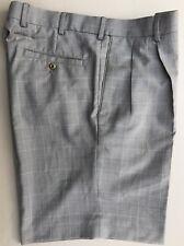 Men's LOUIS RAPHAEL Golf/Dress Shorts Pleated Taupe Plaid Waist Extensions Sz 34