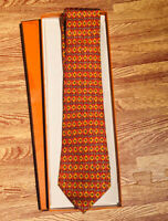 Hermes Paris Men's Neck Tie Orange Geo 100% Silk Made In France 7584 SA