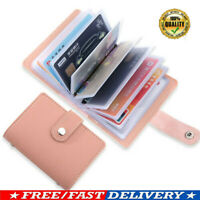 Women's 28 Cards Slim PU Leather ID Credit Card Holder Pocket Case Purse Wallet