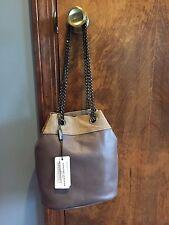 NWT ALBERTA DI CANIO Grey Mini Crossbody Bag Made In Italy Leather & Suede Chain