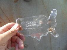presse papiers paperweight cristal VAL ST LAMBERT deco carte des etats unis USA