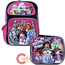 "Monster High School Backpack 16"" Large Girls Book Bag Lunch Bag 2pc Pink Black"