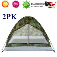 2*HIKING CAMPING TENT 2 PERSON SINGLE LAYER Traveling PORTABLE CAMOUFLAGE V0W0