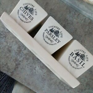 Ceramic Cream COUNTRY LIFE Herb Plant Pots on Tray - Parsley, Chives & Basil