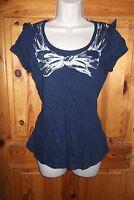 Dorothy Perkins navy blue rockabilly dolly t-shirt w ruffles & graphic bow UK 10