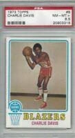 1973 Topps basketball card 8 Charlie Davis Portland Trail Blazers graded PSA 8.5