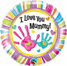 "Qualatex 90581 18"" Round I Love You Mummy Handprints Foil Balloon 01ct"