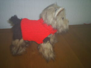 """NEW  XS TINY 6"""" HAND KNITTED DOG COAT / JUMPER  RED CHIHUAHUA/ YORKIE/ TERRIER"""