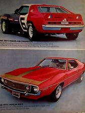 "1971 Mark Donohue Javelin & 1972 Javelin AMX Original Print Ad 8.5 x 10.5"""