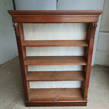 More details for antique,edwardian,tall,mahogany,open,bookcase,adjustable,shelves,cornice,plinth