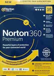 NORTON 360 PREMIUM  10 Devices 1Year NEW