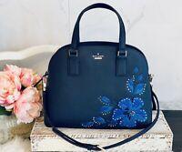 NWT Kate Spade Lottie hibiscus Bag appliqué leather Beautiful Blue Flower