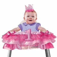 Girls Baby Girl Number One First 1st Birthday Pink High Chair Decor Bows Pretty