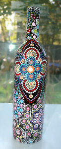 One of a Kind Hand Painted Bottle with Beautiful Mandala Design (Dot Painting)