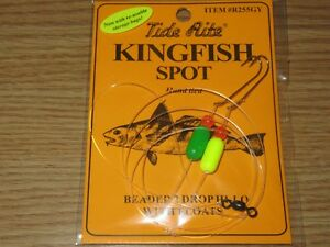 24 KINGFISH SPOT RIGS TIDE RITE R255GY BEADED 2 DROP HILO SALTWATER RIG FISHING