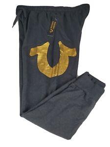 Men's True Religion Size Large NWT Gold Logo Jogger Pants Loungewear Sweatpants