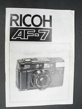 Ricoh Af-7 1984 Camera Instruction Book / Manual / User Guide