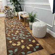 Brown 2 X 5 feet Rubber Backed Non Slip Traditional European Floral Runner Rug