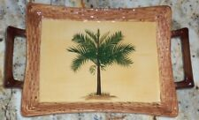 NEW PACIFIC RIM HAND PAINTED EXCLUSIVE PALM TREE SERVING TRAY PLATTER MICROWAVE