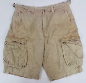 mens khaki AMERICAN EAGLE cargo shorts classic distressed heavy cotton 36 x 12.5