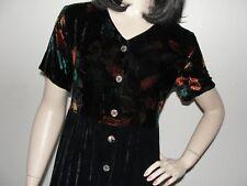 COLDWATER CREEK Sz PM Rayon Autumn Leaves Velvet Empire Waist Button Front Dress