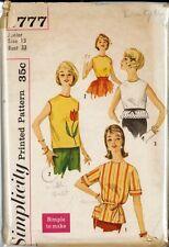 Vintage lot de blouses & tie ceinture Motif de Couture S3777 taille 13