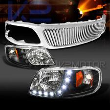 99-03 F150 SMD LED DRL Black Headlights+Chrome Vertical Bar Grille
