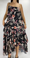 COOPER ST Black Pink Floral Print Ruffle Tiered Midi Dress Plus Size AU 18 Party