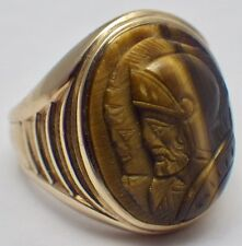 Vintage Women's 10K Yellow Gold Carved Tiger's Eye Double Roman Ring Size 6 1/2