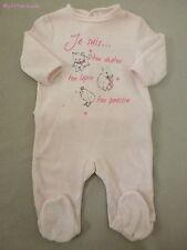 Bébérêve***Pyjama/Dors bien/grenouillère velours 3 mois/60 cm Rose Lapin chaton