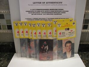 1972 PBA Bowling 40 Lesson Card Set + 3 Autographed Bowling Cards By Lou Scala