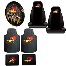 New Mr. Horsepower Car Truck Front Seat Covers Floor Mats & Steering Wheel Cover