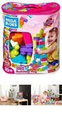 Super Bloks Kids Toy Big Building Construction Bag Pink, 80 Pieces, Good Gift