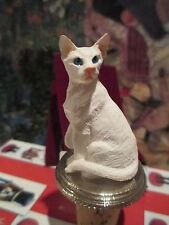 Cat White Oriental Shorthair ~ Wine Stopper Hand Painted Resin