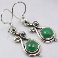"""Beautiful Handcrafted Earrings 1.4"""" New 925 Sterling Silver Green Malachite"""