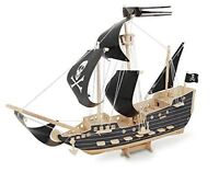 PIRATE SHIP Woodcraft Construction Kit - 3D Wooden Model Puzzle For KIDS/ADULTS